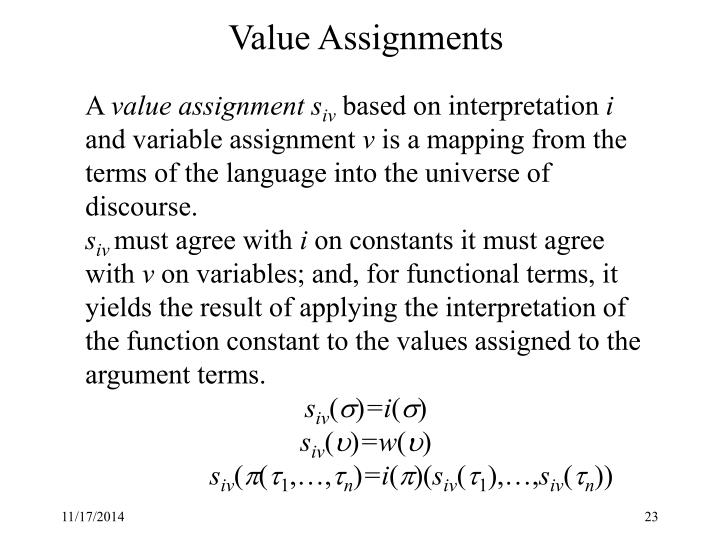 Value Assignments