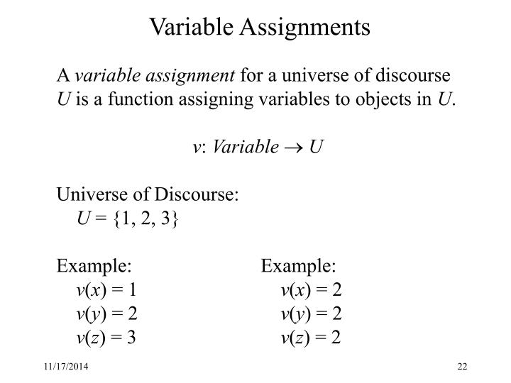 Variable Assignments