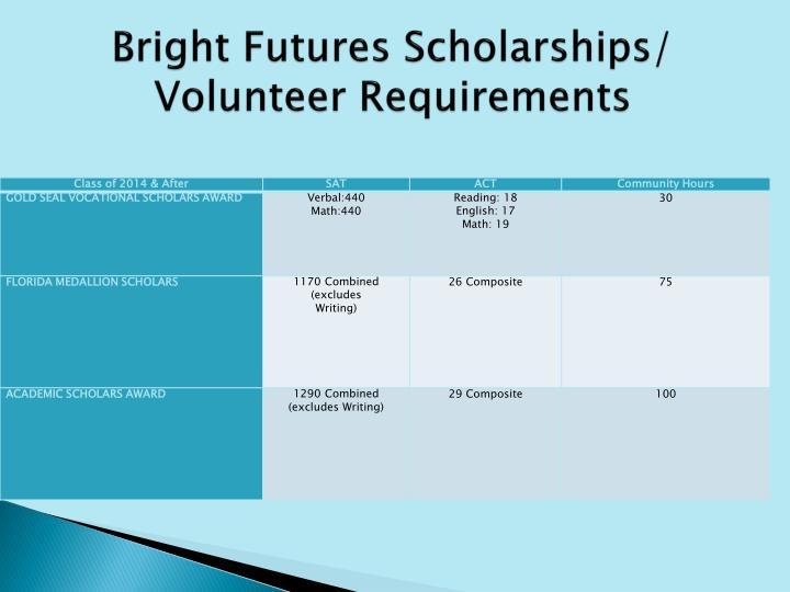 Bright Futures Scholarships/ Volunteer Requirements