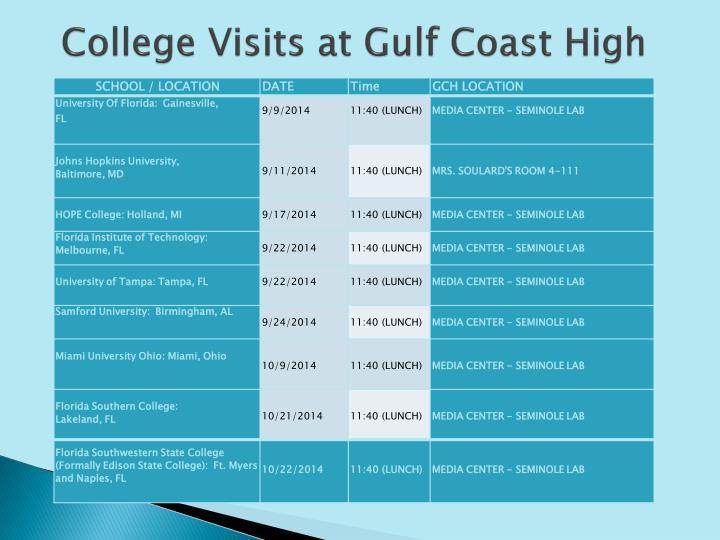 College Visits at Gulf Coast High