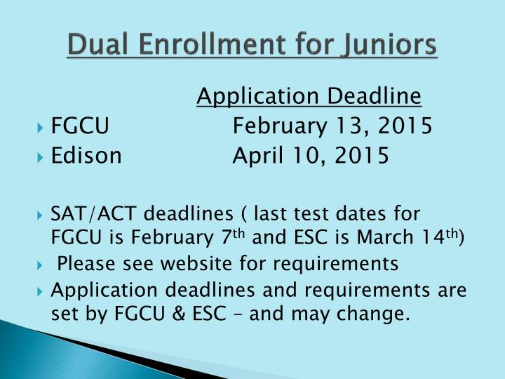 Dual Enrollment for Juniors