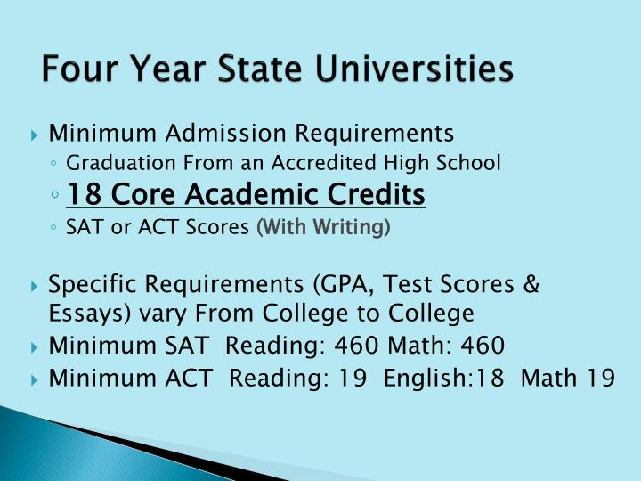 Four Year State Universities