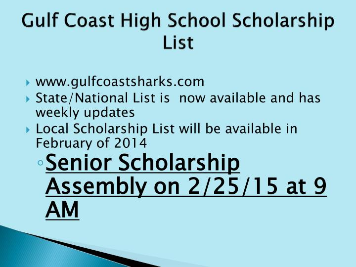 Gulf Coast High School Scholarship List