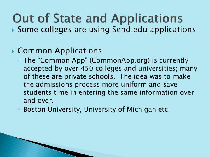 Out of State and Applications