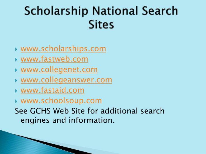 Scholarship National Search Sites