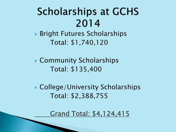 Scholarships at GCHS 2014