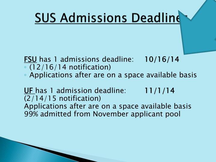 SUS Admissions Deadlines