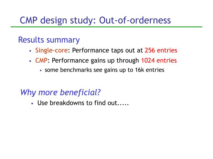 CMP design study: Out-of-orderness