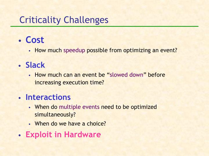 Criticality Challenges