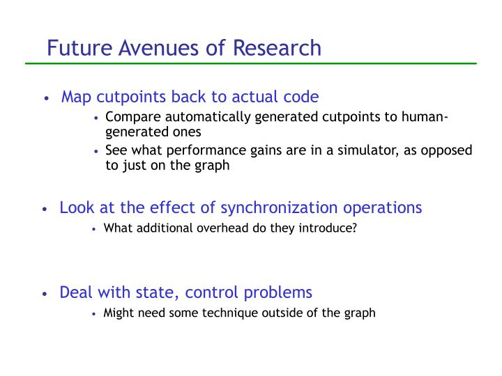 Future Avenues of Research