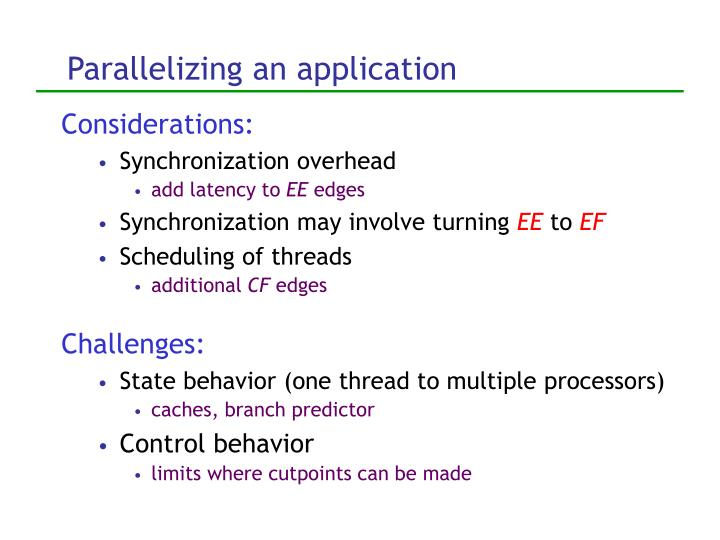 Parallelizing an application