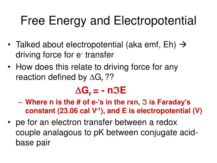 Free Energy and Electropotential