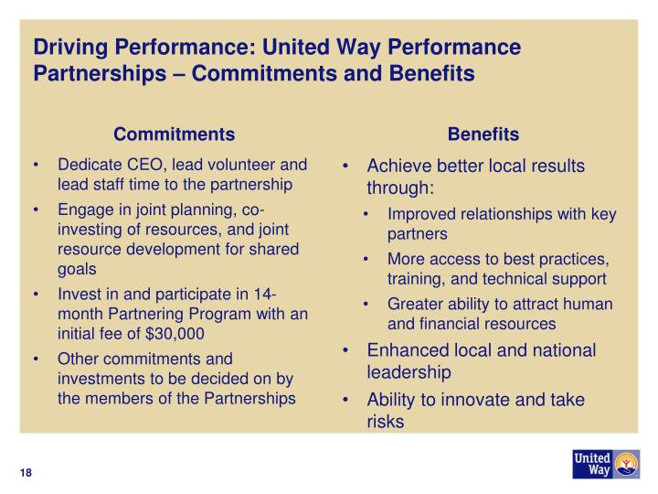 Driving Performance: United Way Performance Partnerships – Commitments and Benefits