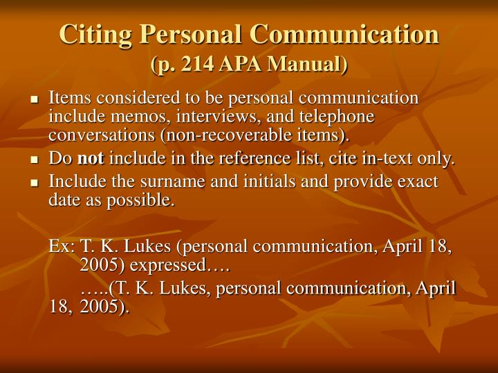 Citing Personal Communication