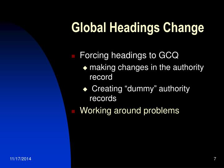 Global Headings Change