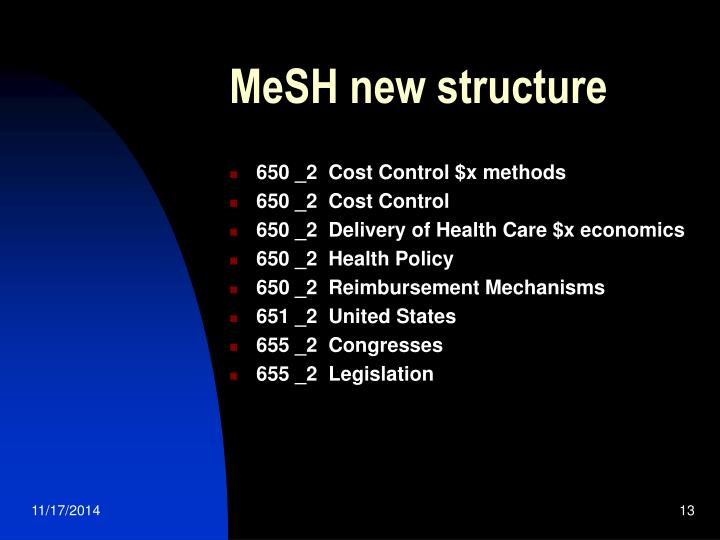 MeSH new structure