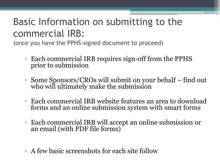 Basic Information on submitting to the commercial IRB: