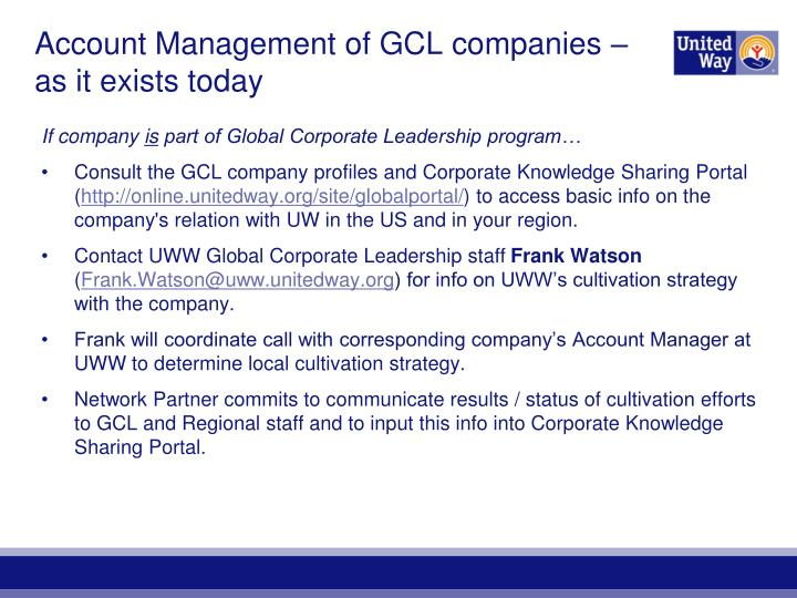 Account Management of GCL companies – as it exists today