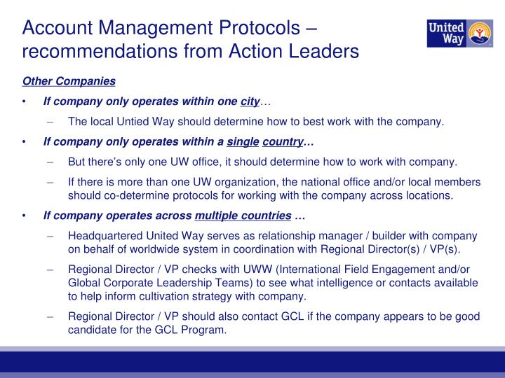 Account Management Protocols – recommendations from Action Leaders