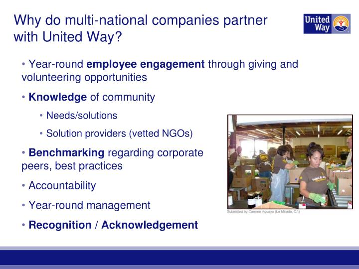 Why do multi-national companies partner with United Way?
