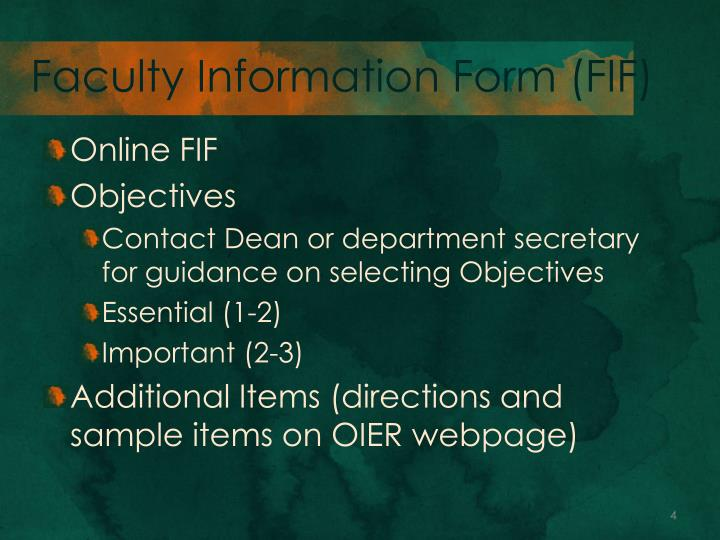 Faculty Information Form (FIF)