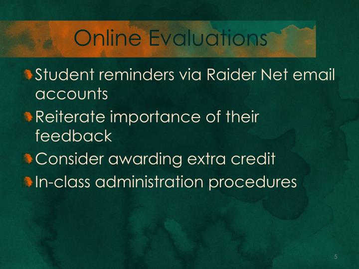 Online Evaluations