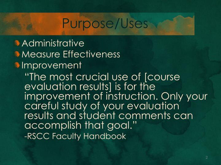 Purpose/Uses