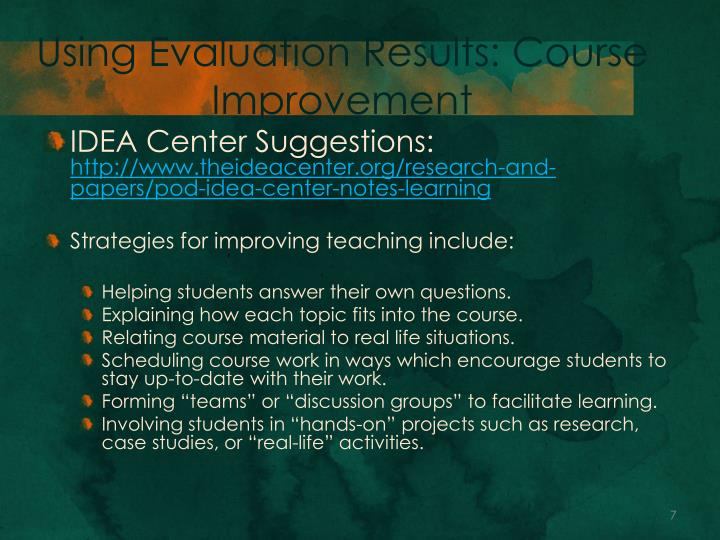 Using Evaluation Results: Course Improvement