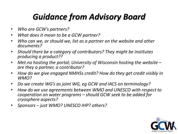 Guidance from Advisory Board