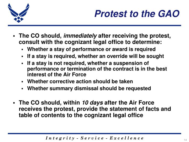 Protest to the GAO