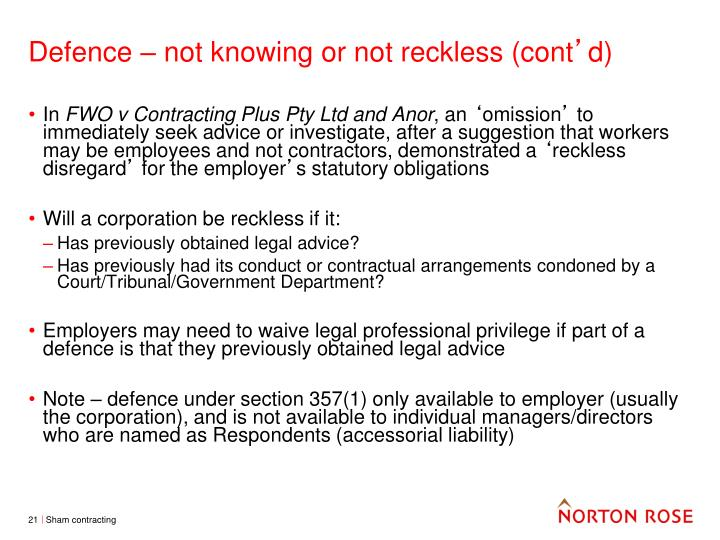 Defence – not knowing or not reckless (cont
