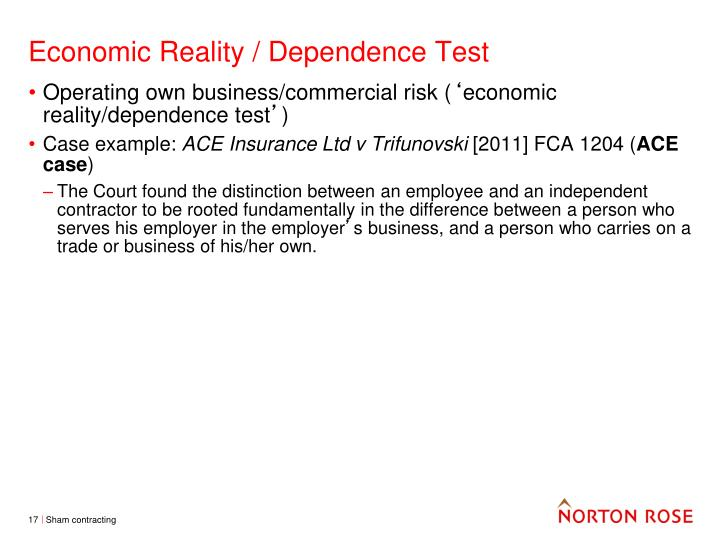Economic Reality / Dependence Test