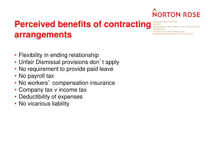 Perceived benefits of contracting