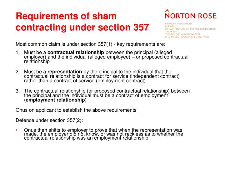 Requirements of sham