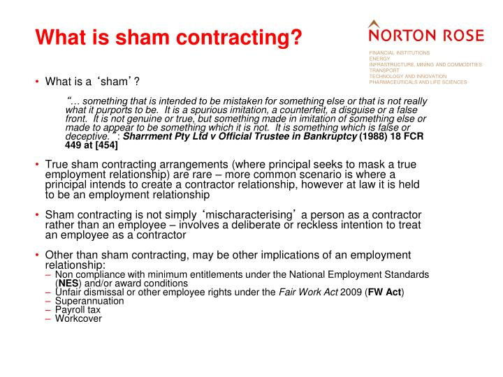 What is sham contracting?