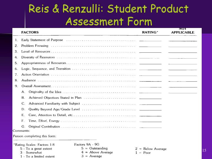 Reis & Renzulli: Student Product Assessment Form