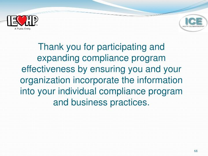 Thank you for participating and expanding compliance program effectiveness by ensuring you and your organization