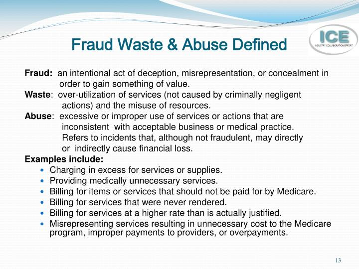 Fraud Waste & Abuse Defined