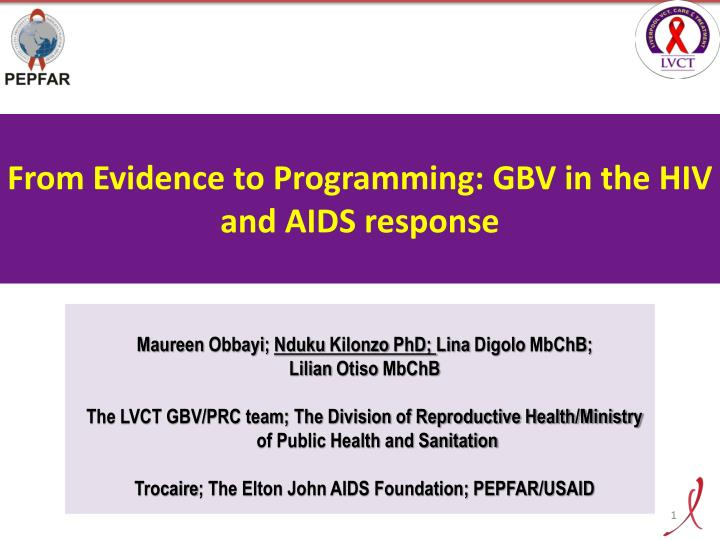 From evidence to programming gbv in the hiv and aids response