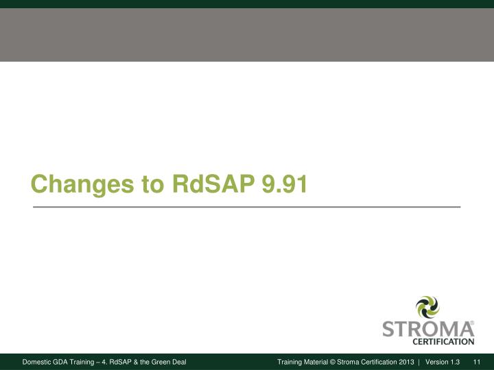 Changes to RdSAP 9.91