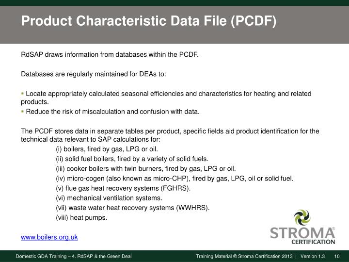 Product Characteristic Data File (PCDF)