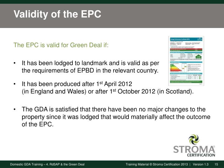 Validity of the EPC