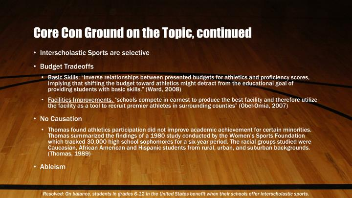 Core Con Ground on the Topic, continued