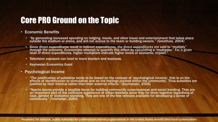 Core PRO Ground on the Topic