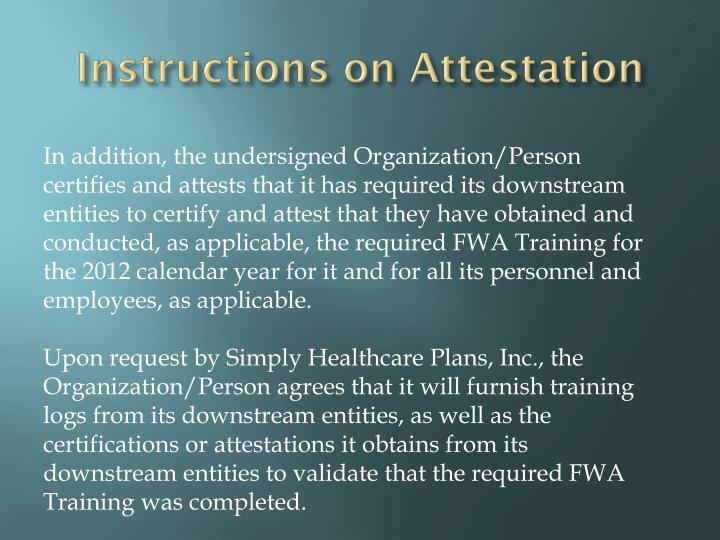 Instructions on Attestation