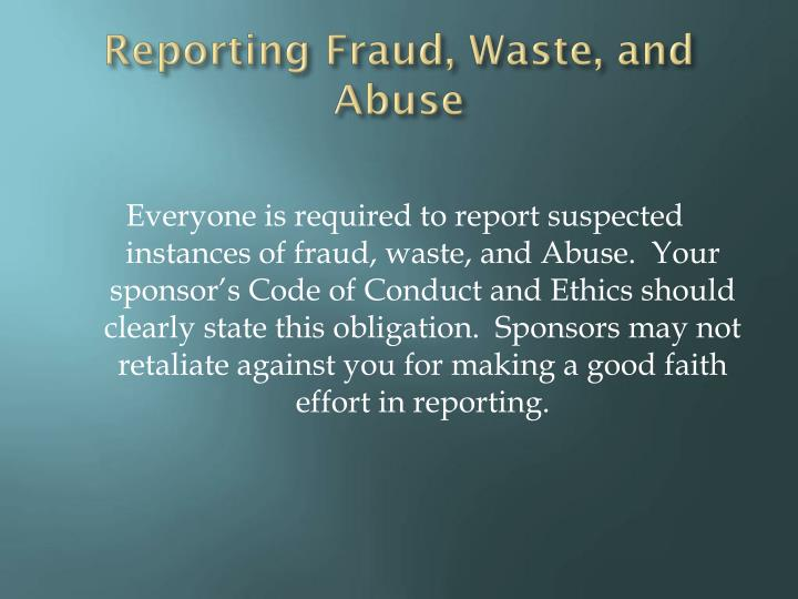 Reporting Fraud, Waste, and Abuse