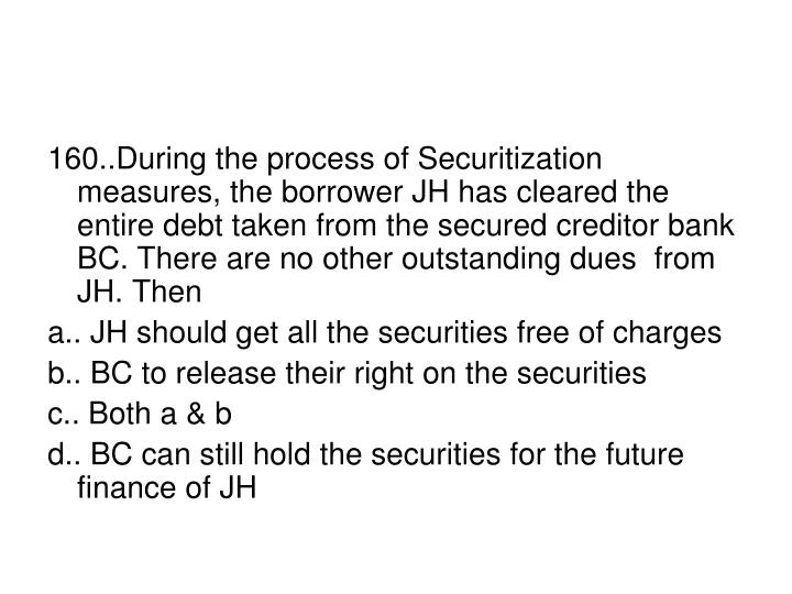 160..During the process of Securitization measures, the borrower JH has cleared the entire debt taken from the secured creditor bank BC. There are no other outstanding dues  from JH. Then