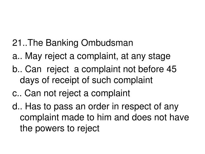 21..The Banking Ombudsman