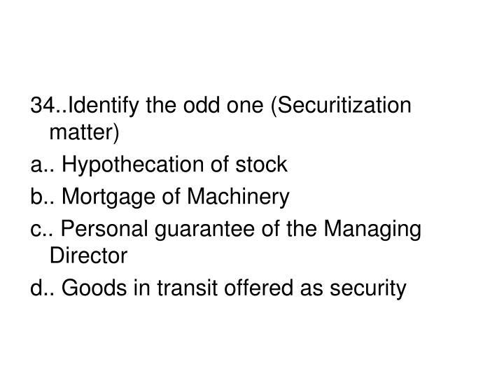 34..Identify the odd one (Securitization matter)