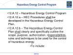 hazardous energy control program
